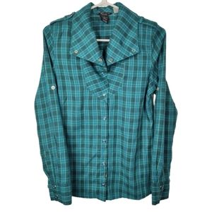Oakley Large Collar Button Down Plaid Top S